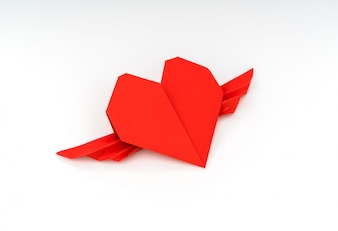 Red paper origami heart with wings on white background .