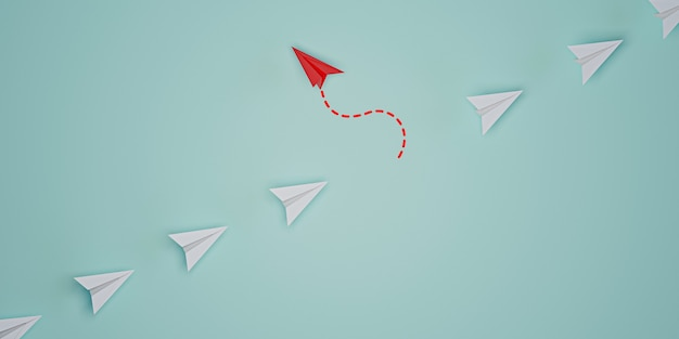 Red paper plane out of line with white paper to change disrupt and finding new normal way on blue background. lift and business creativity new idea to discovery innovation technology. 3d render