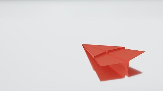 흰색 배경 공기 우편물 비즈니스 방향 개념 3d에 반사와 빨간 종이 비행기