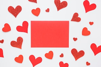 Red paper with bright hearts