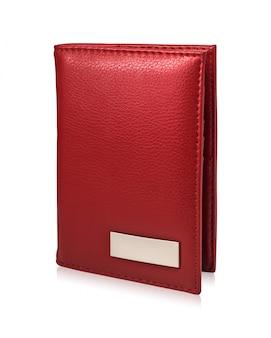 Красный бумажник пасспорта изолированный на белой предпосылке. шаблон кожаного кошелька для вашего дизайна. Premium Фотографии