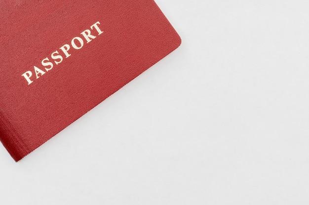 Red passport on white background