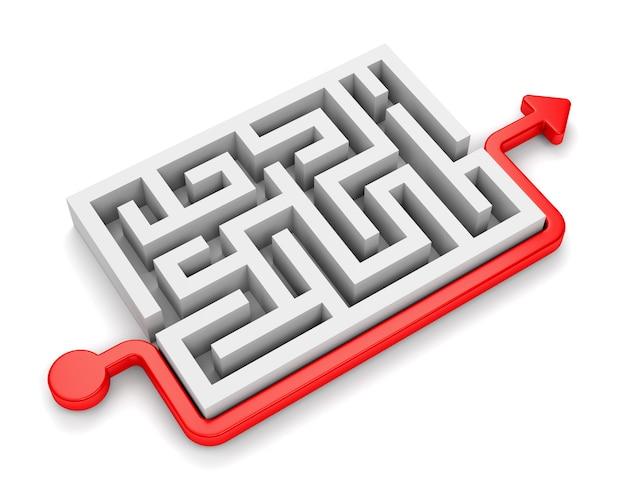 흰색 배경에 고립 된 미로 주위를 이동하는 화살표가있는 빨간색 경로
