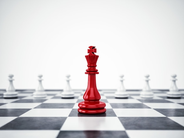 Red pawn differ from the mass. concept of uniqueness and leadership. 3d rendering