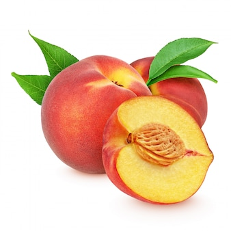Red peaches with leaves