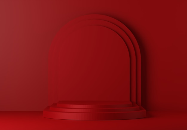 Red pedestal for display. empty product stand with geometrical shape. 3d render.
