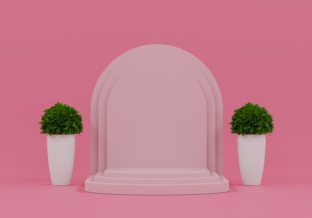 Red pedestal for display with tree. empty product stand with geometrical shape. 3d render.