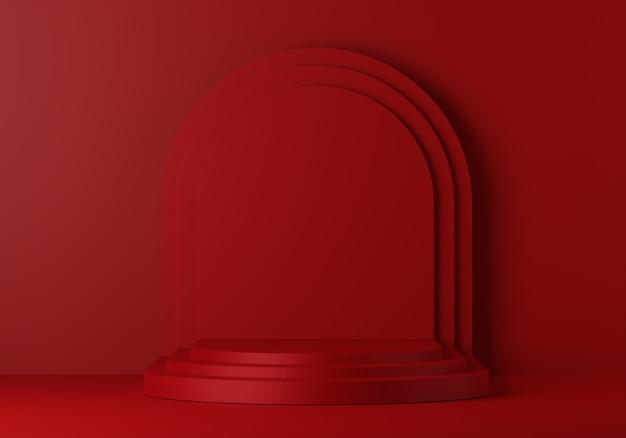 디스플레이를위한 빨간 받침대. 기하학적 형태의 빈 제품 스탠드. 3d 렌더링
