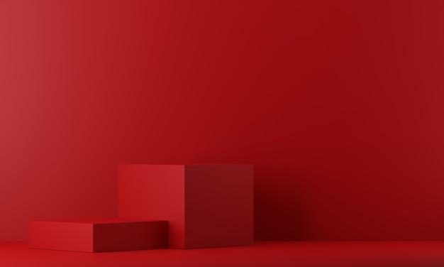 ディスプレイ用の赤い台座。幾何学的形状の空の製品スタンド。 3 dのレンダリング。