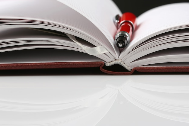 Красная ручка, лежащая на открытом блокноте