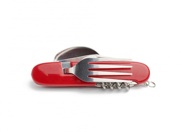 Red penknife for survival with various tools