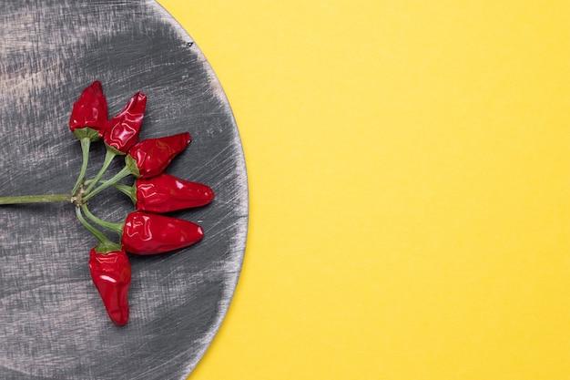赤唐辛子のデザイン、創作料理。黄色の背景