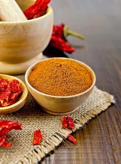 木製のボウルに赤唐辛子の粉、乳鉢に赤唐辛子のフレークとポッド、黄麻布と木の板の背景に木のスプーン