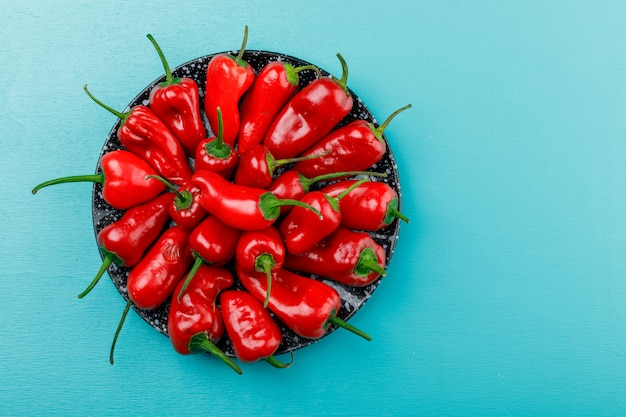 Red peppers in a ceramic dish on blue wall, flat lay.