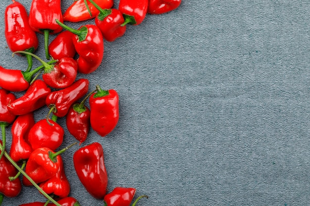 Red peppers on a textile wall. flat lay.