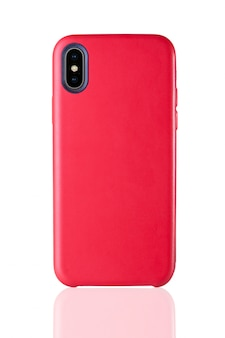 Red phone leather case on white