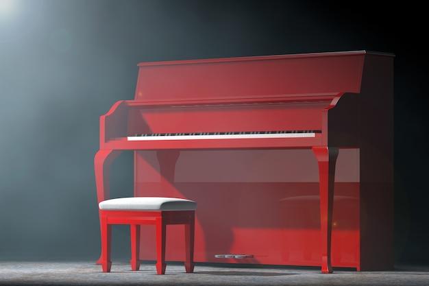 Красный рояль в объемном свете на черном фоне. 3d рендеринг