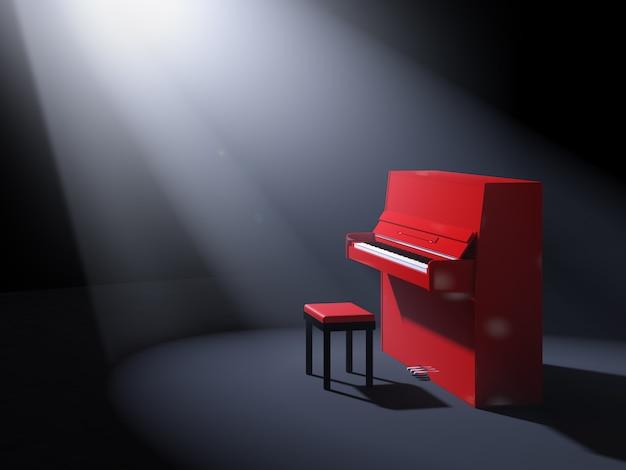 Красное пианино со стулом на сцене