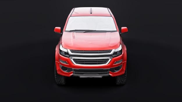 검정색 배경에 빨간색 픽업 자동차입니다. 3d 렌더링.
