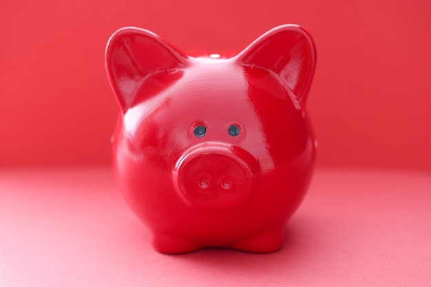 Red pig on a red wall financial savings concept