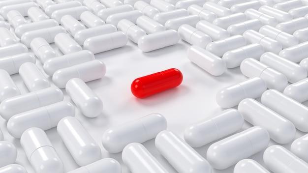 Красная таблетка среди белых. 3d иллюстрации.