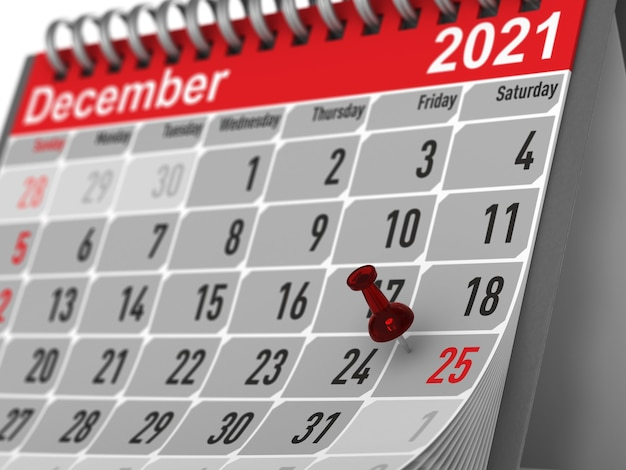 Red pin marking christmas day on calendar on white background. isolated 3d illustration