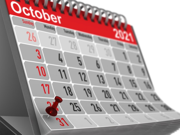 Красная булавка, обозначающая день хэллоуина на календаре на белом фоне. изолированная 3-я иллюстрация