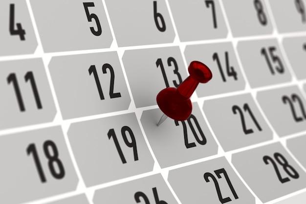 カレンダーの重要な日を示す赤いピン。 3dイラスト