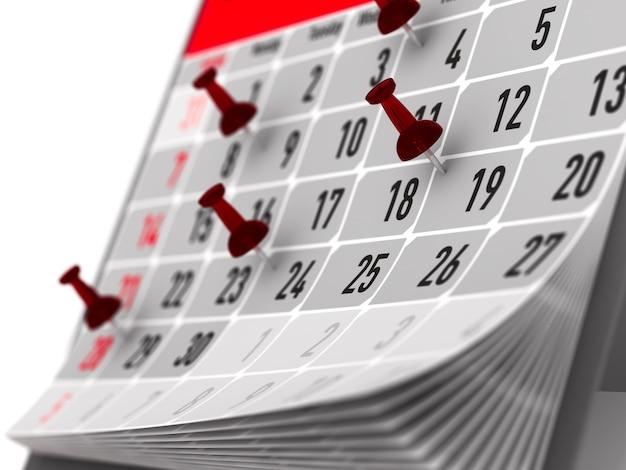 カレンダーの重要な日を示す赤いピン