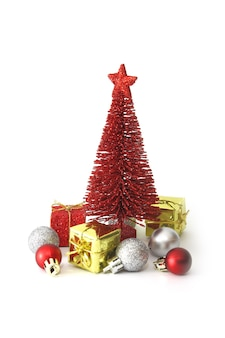 Red pine tree and christmas ornaments decoration on white space