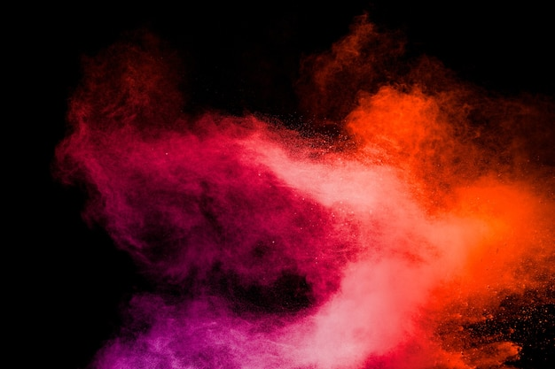Red pink color powder explosion