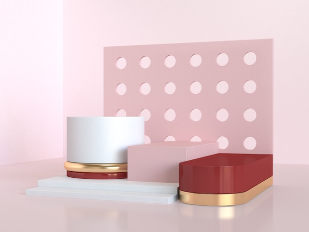 Red pink geometric abstract scene 3d rendering