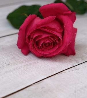 Красные розовые розы на деревянной поверхности