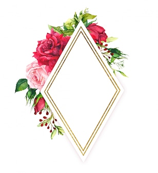 Red and pink roses with spring green grass, golden border. watercolor frame with flowers, meadow herbs and gold