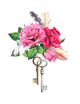 Red, pink roses with two keys and feathers. watercolor in boho style for valentine day, wedding