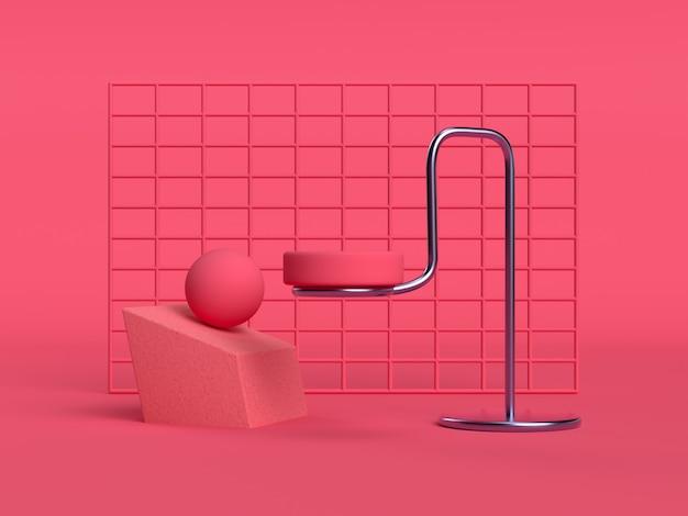 赤/ピンクのシーンの正方形の壁の幾何学的形状のステージセット