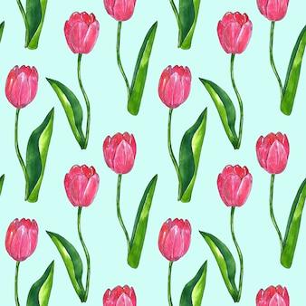 葉と赤ピンクのチューリップ。シームレスパターン。印刷、ファブリック、テキスタイル、壁紙のテクスチャ。青の手描きの水彩画とインクのイラスト