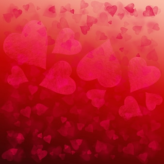 Red pink valentine abstract festive gradient background. bokeh glitter effect pattern texture with hearts.