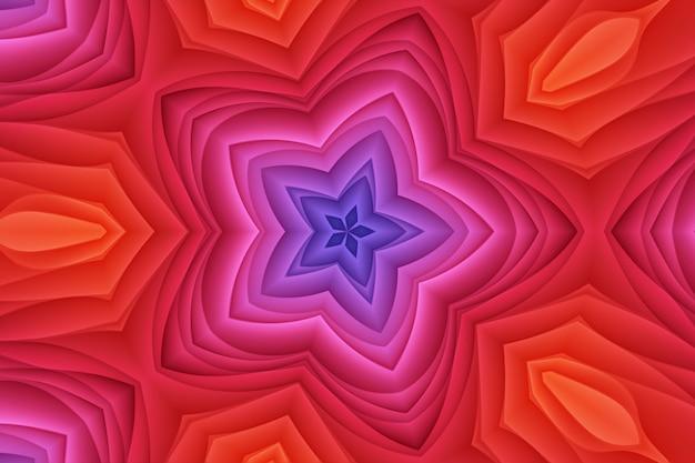 赤ピンク黄色の抽象的な花の背景