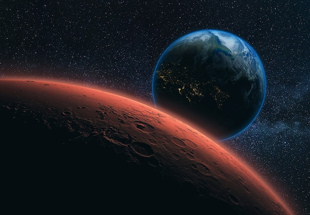 Red planet earth with craters and blue planet earth in space with stars. space wallpaper