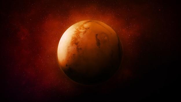 暗い宇宙空間の赤い惑星火星