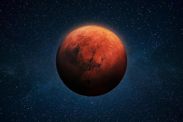 星のある深い宇宙空間にある赤い惑星火星。スペースの壁紙