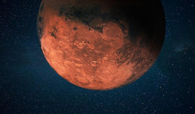 星のある宇宙にクレーターがある赤い惑星火星。スペースの壁紙のコンセプト