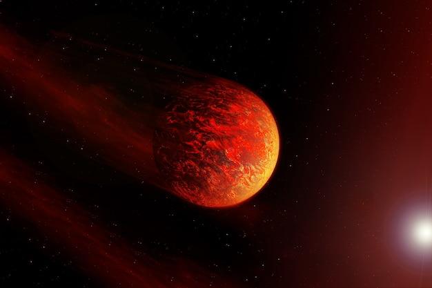 Красная планета на черном фоне. элементы этого изображения были предоставлены наса. фото высокого качества