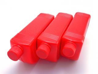 Red plastic bottles