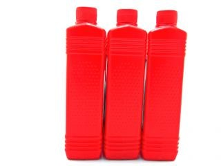 Red plastic bottles