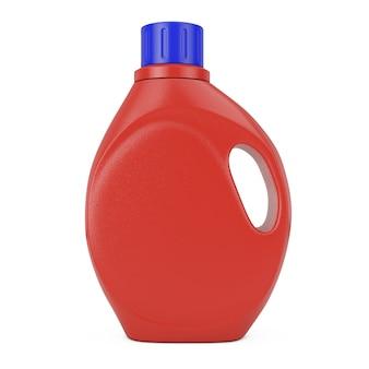흰색 바탕에 디자인을 위한 빈 공간이 있는 빨간색 플라스틱 세제 용기 병. 3d 렌더링