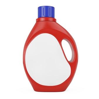 흰색 바탕에 당신의 디자인을 위한 빈 공간 레이블이 있는 빨간색 플라스틱 세제 용기 병. 3d 렌더링