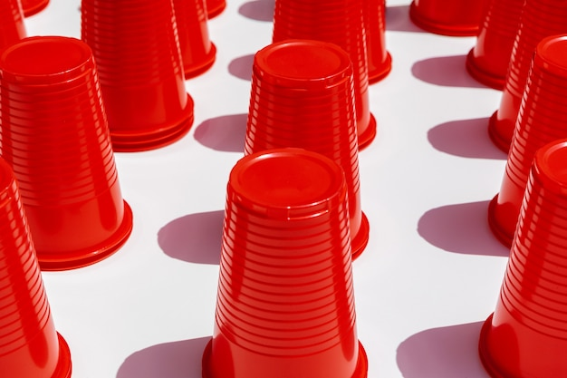 Red plastic drinking cups pattern