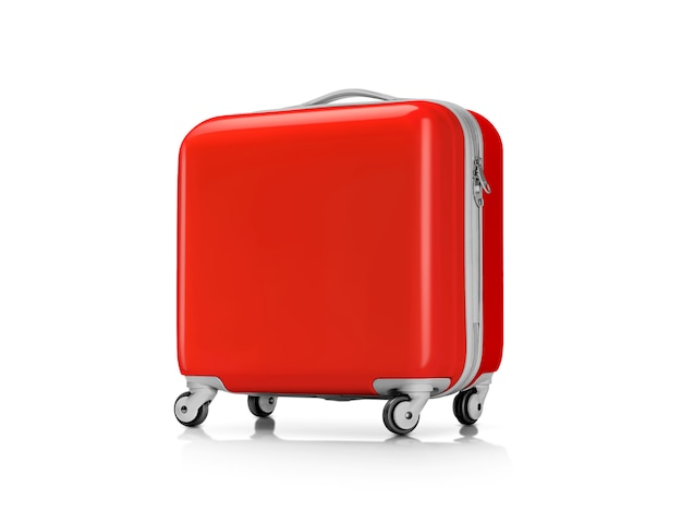 Red plastic suitcase or luggage for traveler isolated on white